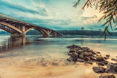 Kyiv Metro bridge in the evening