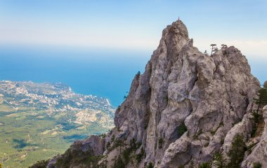 A panoramic view of Yalta city from Ai-Petri mountain, Crimea, Ukraine