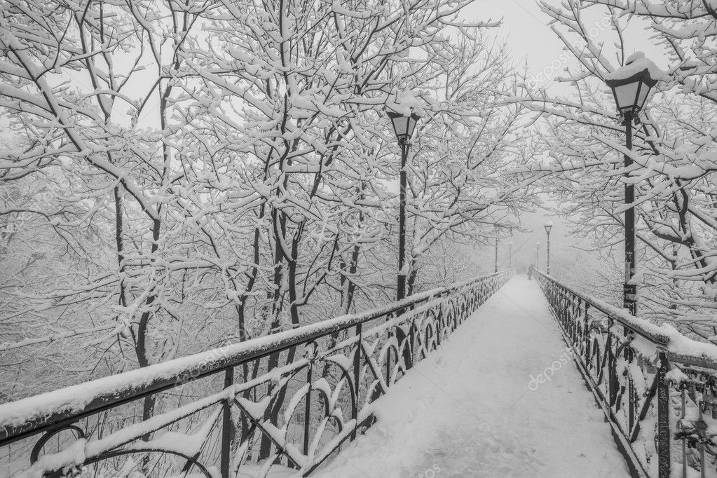 Winter city park. Lovers Bridge in Kiev. Ukraine.