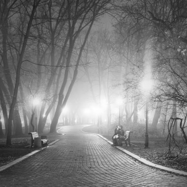 Romantic scene in the evening city park. Black and white.