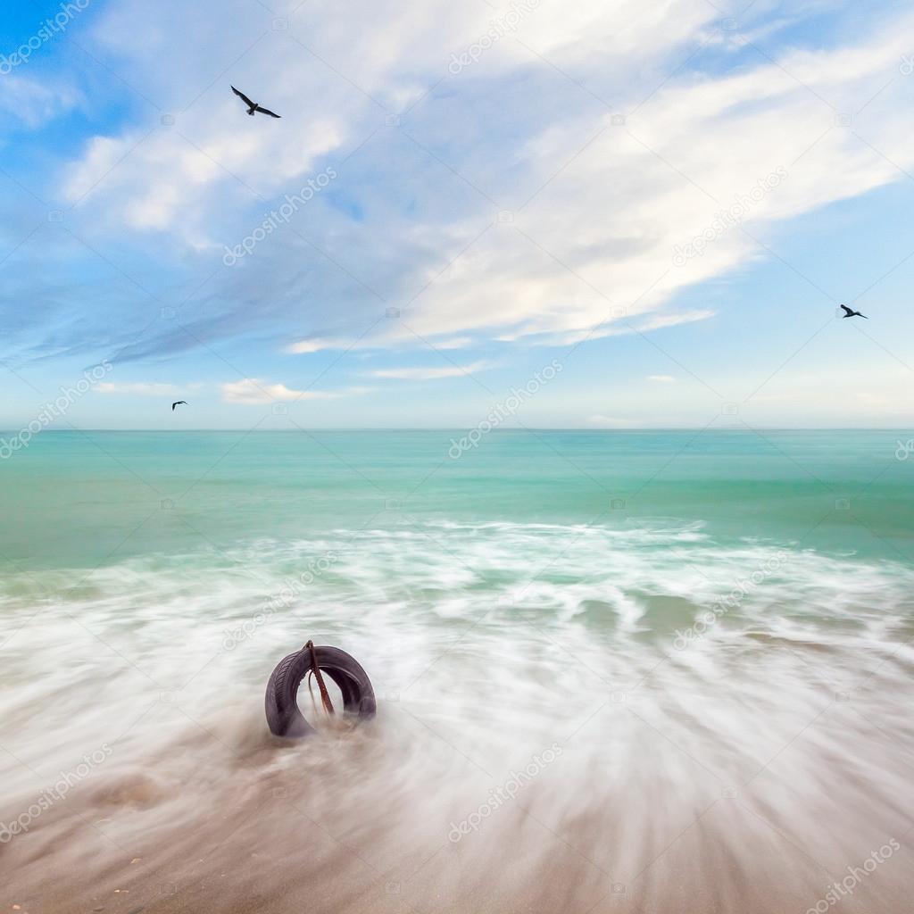 Minimalist seascape with birds
