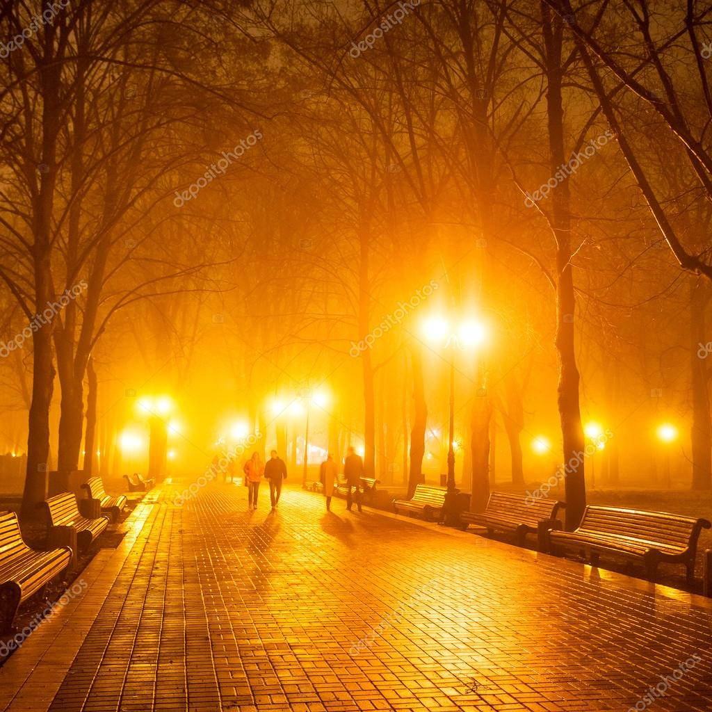 People in city park at night