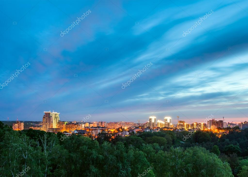 Kiev city skyline panorama at night