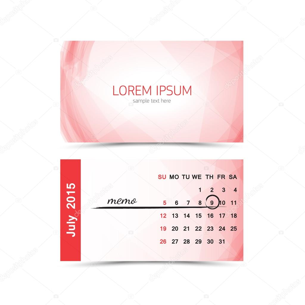 Business card calendar template 2015 july stock vector business card calendar template 2015 july vector by beerlogoff2 flashek Images