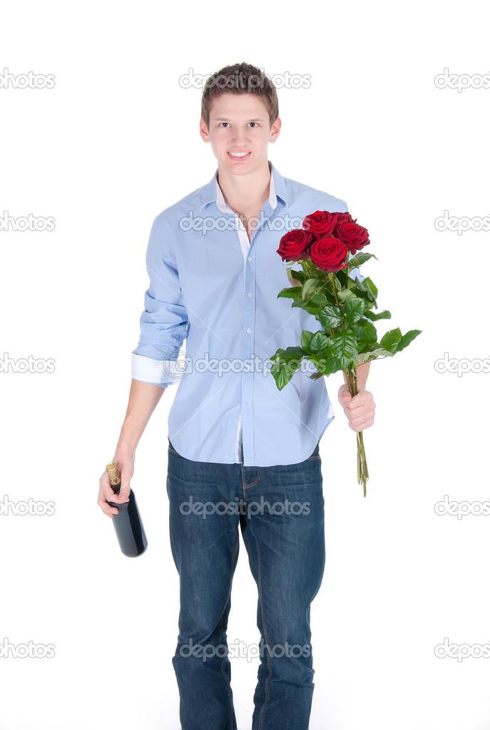 Uomo Sorridente Camicia Di Con Bottiglia Mazzo Indossa La Azzurra Rose — Rosse E Vino TJc3ulFK1