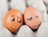 Fotografie dvě vtipné usmívající se vejce v paketu