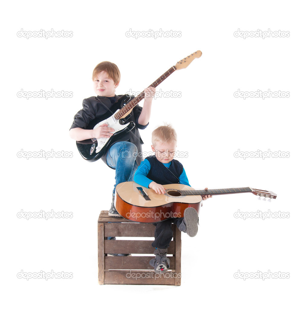 two boys with guitars on a box stock photo deathless 30866345