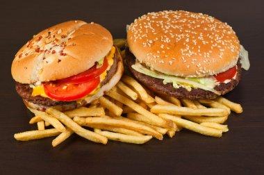 fast food set big hamburger and french fries