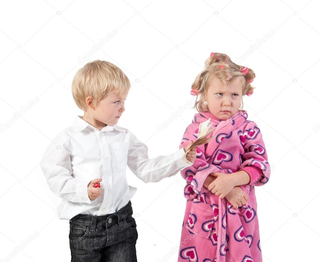 Discontented wife and husband giving money for forgiving