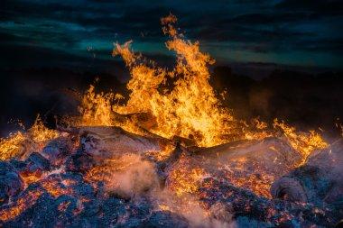 landscape with bonfire