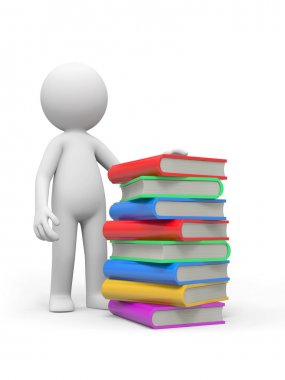 A 3d person standing beside a stack of books
