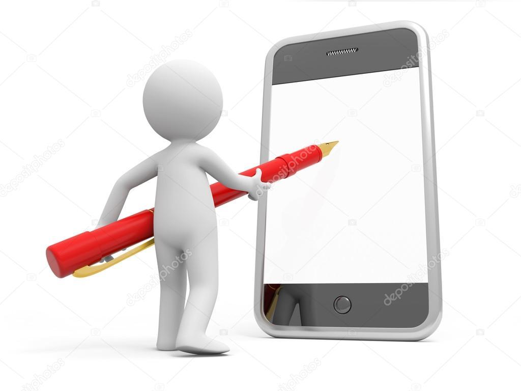 3d Człowiek Pisze Na Telefon Komórkowy Zdjęcie Stockowe Bluecups