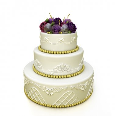 Multi-tiered wedding celebration cake with sugar roses and patterns. Isolated on white background