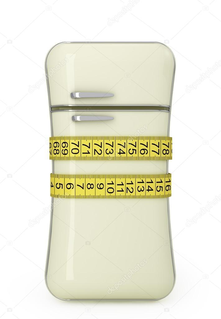 Vintage Kühlschrank, gebunden an der Taille-Schneider, Maßband ...