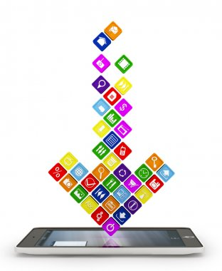 Arrow made up of the apps falling into the display gadget