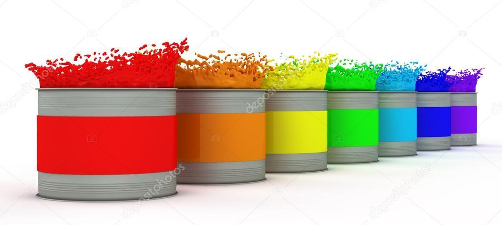 les pots de peinture avec des couleurs de l'arc-en-ciel — photo