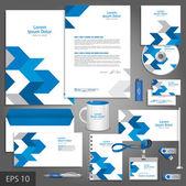Fotografia modello di identità aziendale bianco con frecce blu