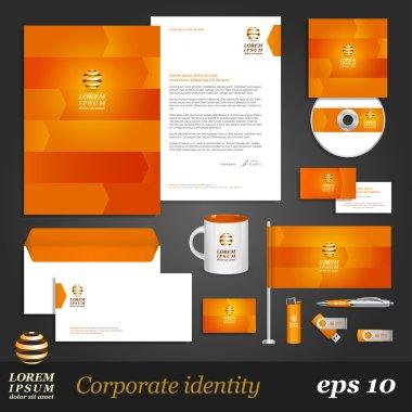 Orange corporate identity template with arrows.