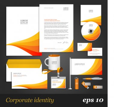 Corporate identity template with orange stripes