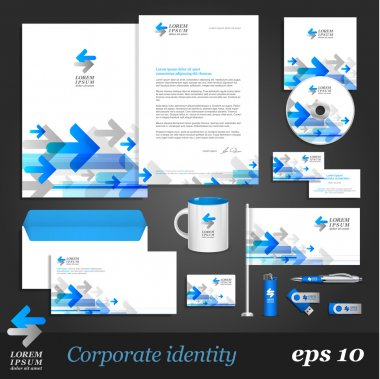 Corporate identity template with blue arrows
