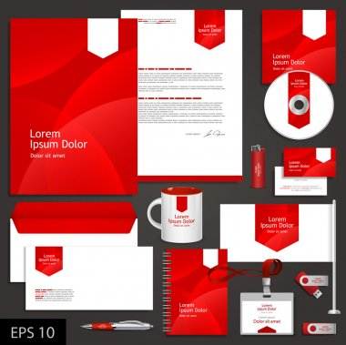 Red corporate identity template with white arrow.