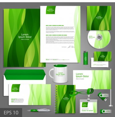 Floral corporate identity template with leaves.