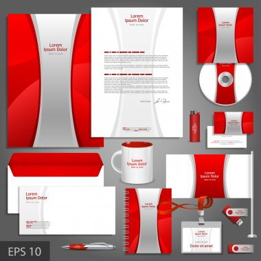 Red corporate identity template with silver stripe.