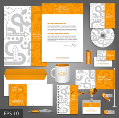 Orange corporate identity template with gray arrows.