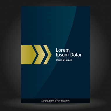 Dark blue brochure cover design with golden arrows.