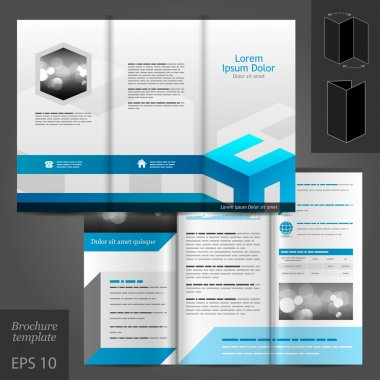 White brochure template design with blue elements.