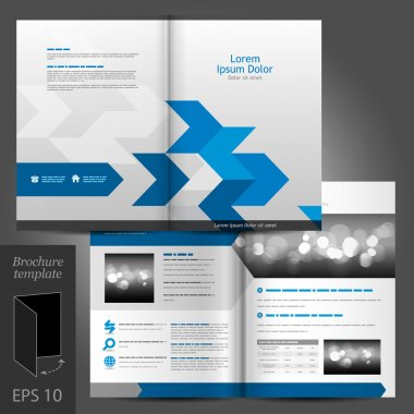 Vector white brochure template design with blue arrows. clip art vector