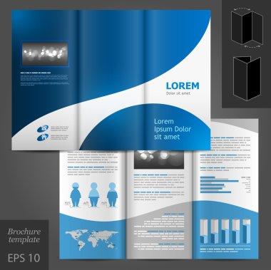 Blue brochure template design.