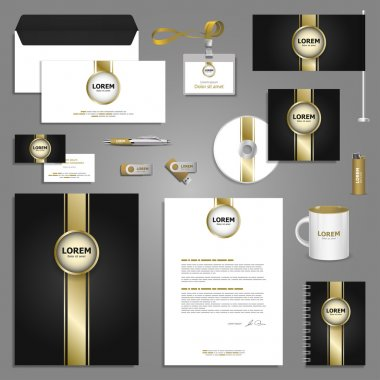 Classic stationery template design with golden elements. Documentation for business. stock vector