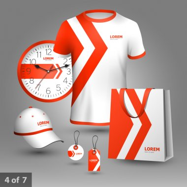 Promotional souvenirs design for company with red arrows. Elements of stationery. stock vector