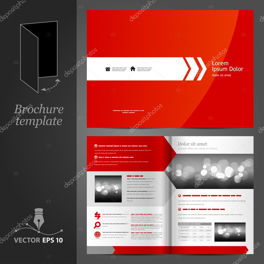 Red brochure template design