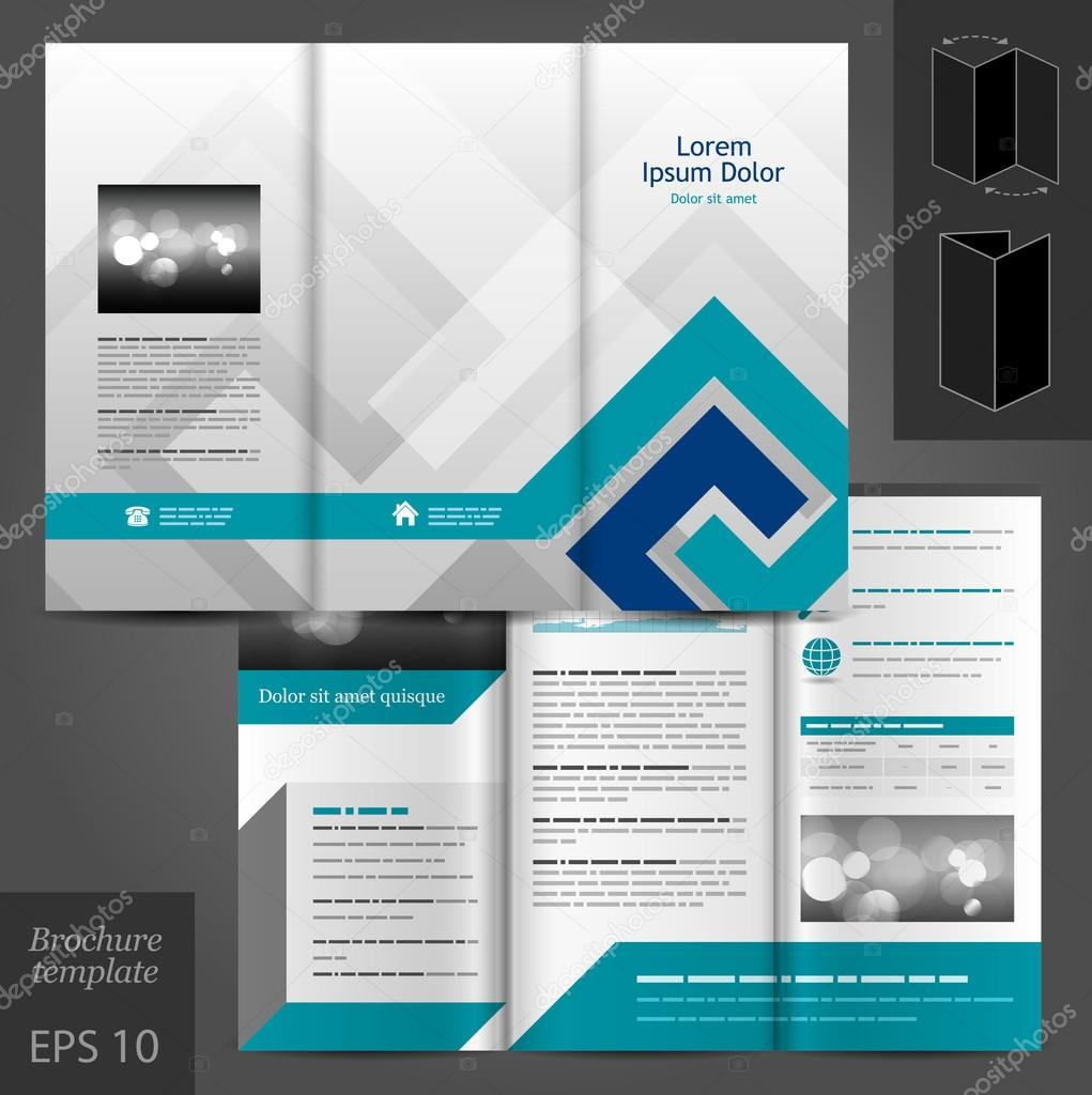 Brochure template design with blue elements.