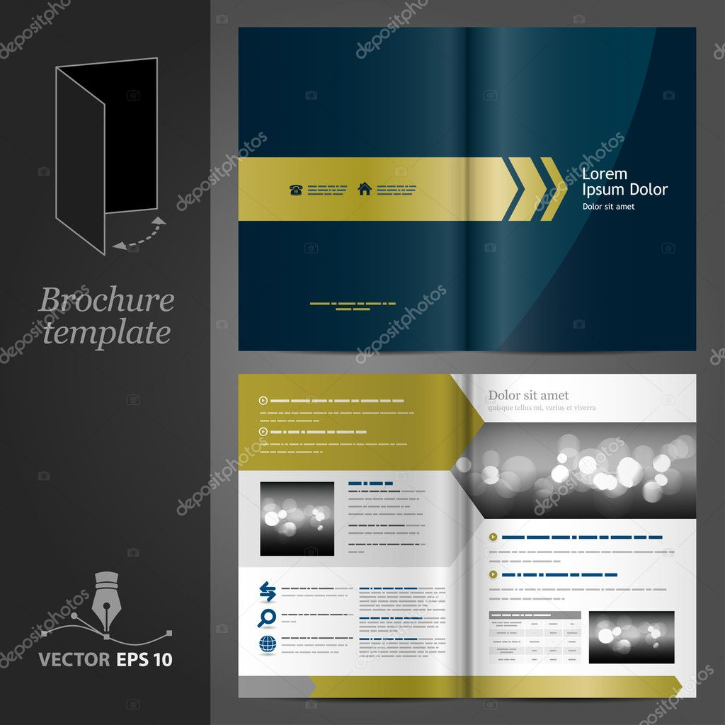 Dark blue brochure template design with golden arrows.