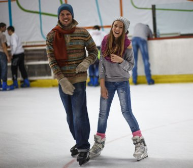 Winter sport, father and daughter