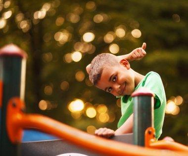 Afro American boy on playground