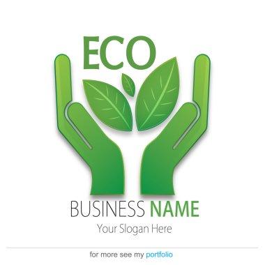 Business (Company) Logo, Bio, Eco, Vector, Hand, Earth, Leaf