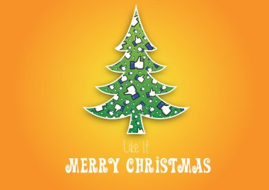 Merry Christmas Like It background,vector,Not original facebook like hand