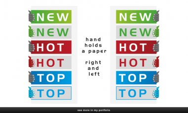 Drawn hand holding a white or color paper (robotic hand), corner ribbon