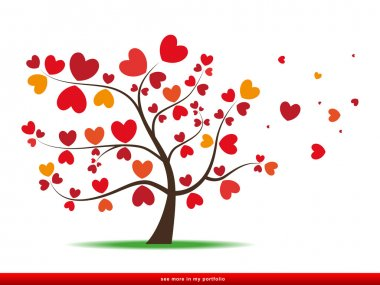 Tree with red heart leaves,love