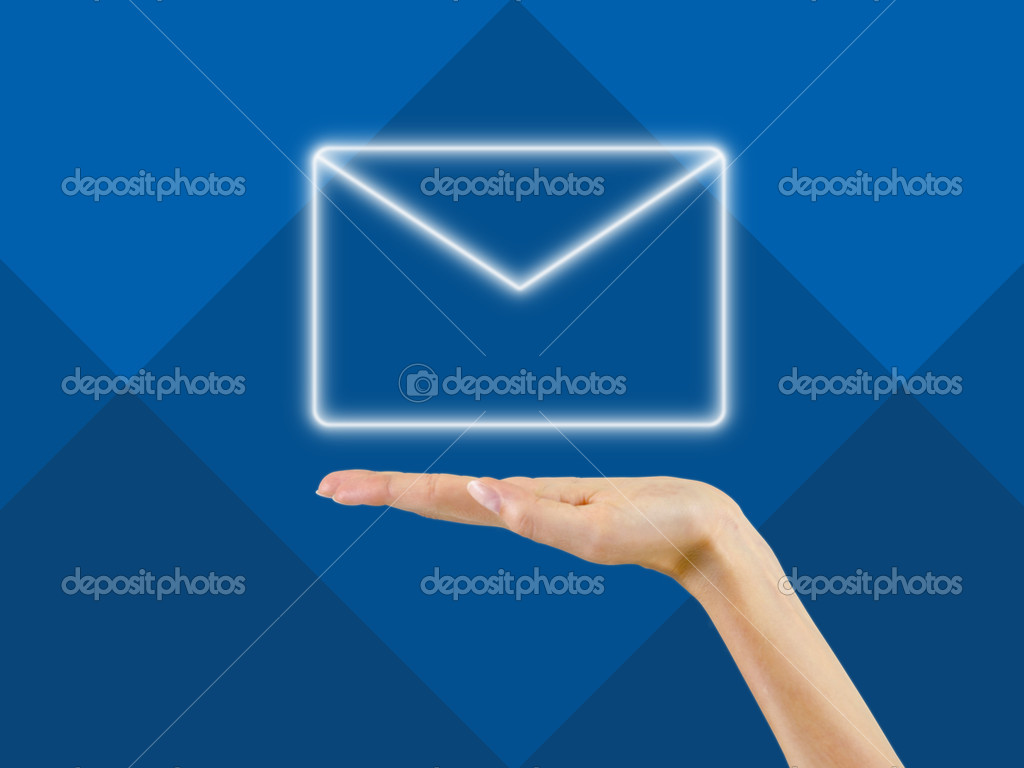 Email Symbol In The Palm Of Handbackground Stock Photo Gudo
