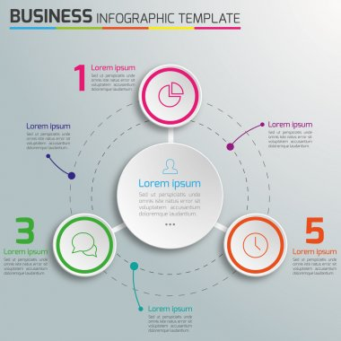 3-6 Steps process business infographics vector, light background, circles, bubbles