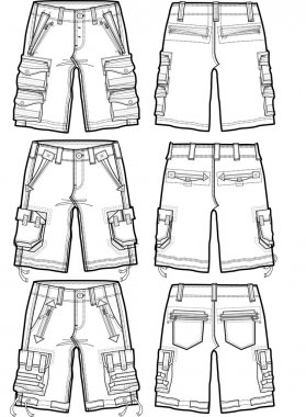 men fashion shorts illustration