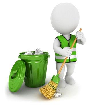3d white street sweeper