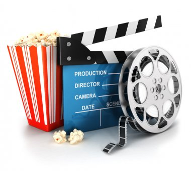 3d cinema clapper, film reel and popcorn, isolated white background, 3d image stock vector