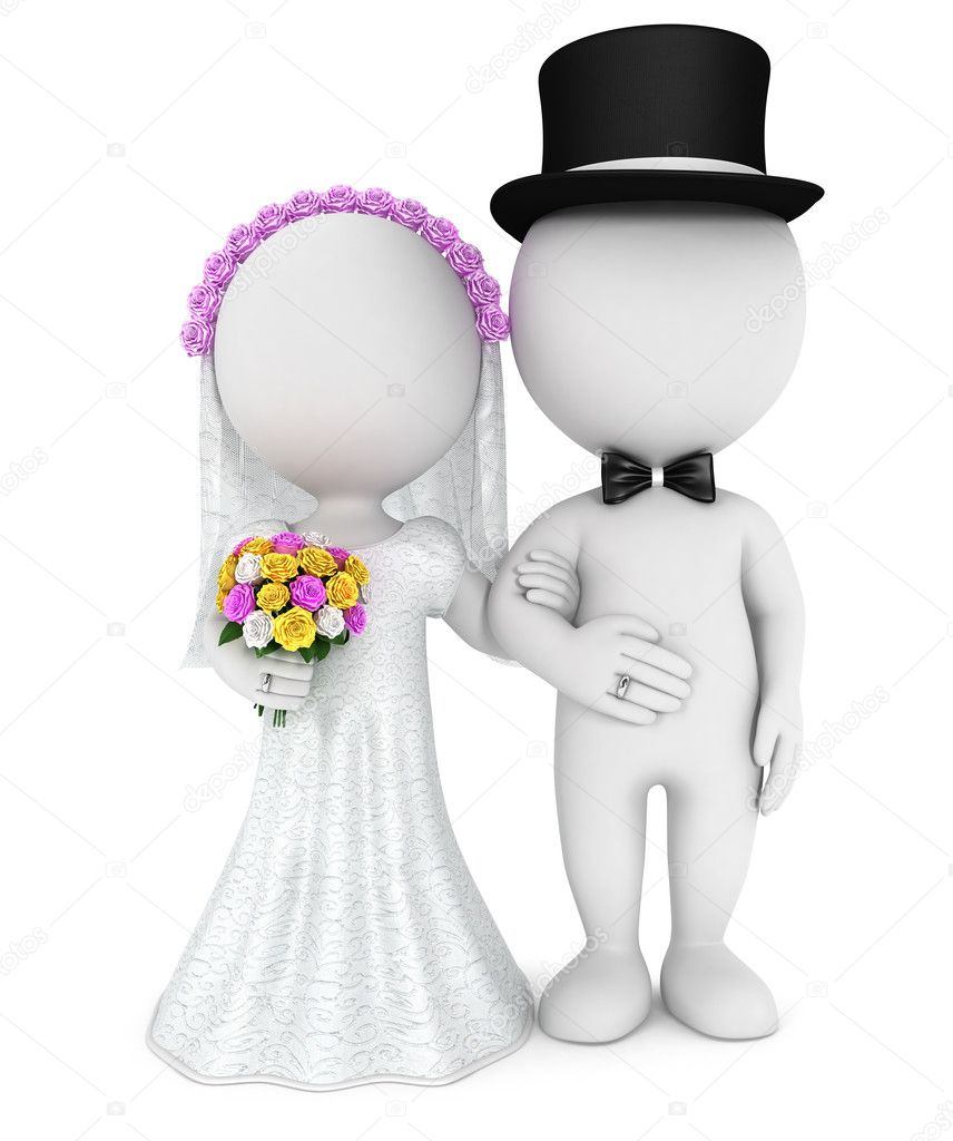 3d white just married couple
