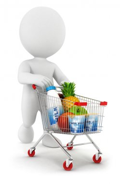 3d white with a shopping cart